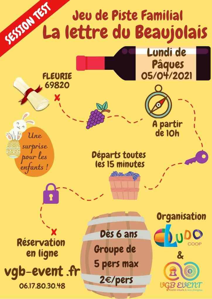 Flyer de la session test jeu de piste familial à Fleurie dans le Beaujolais La lettre du Beaujolais organisé par VGB EVENT et LUDO COOP