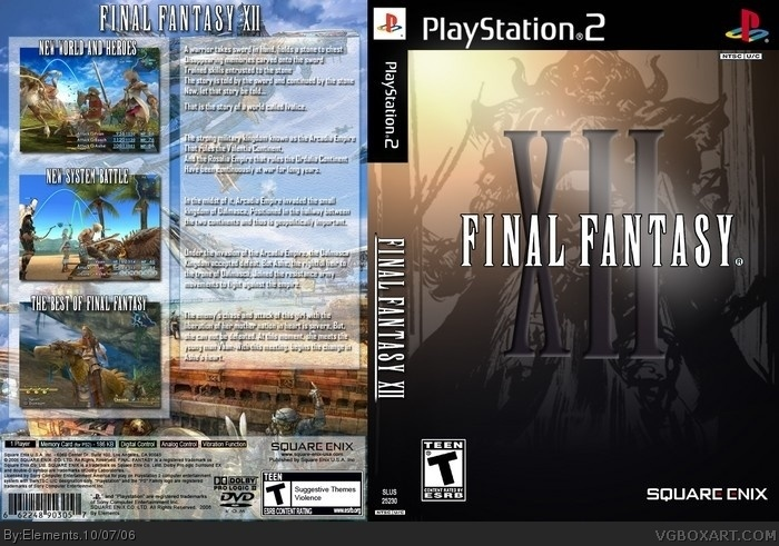 Final Fantasy XII PlayStation 2 Box Art Cover By Elements