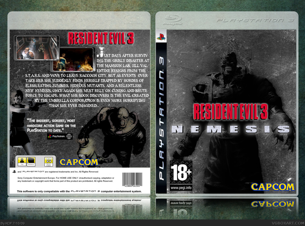 Resident Evil 3 Nemesis PlayStation 3 Box Art Cover By KOF