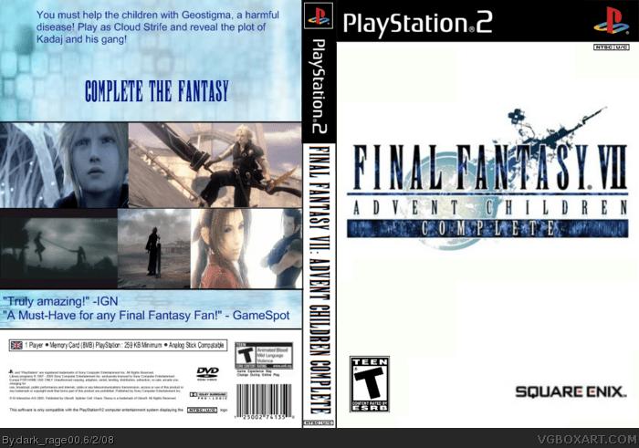 Final Fantasy VII Advent Children Complete PSP Box Art Cover By Darkrage00