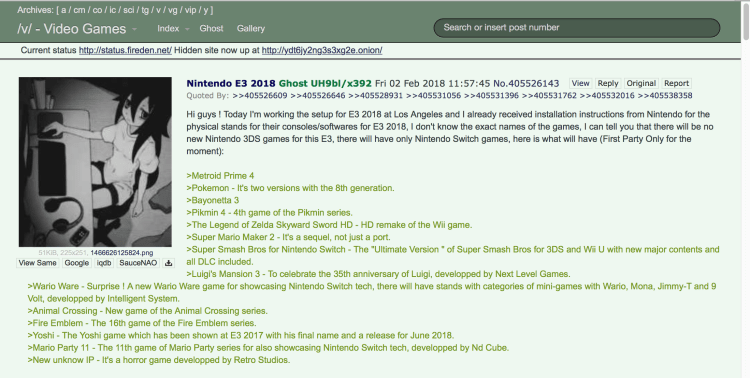 Rumor: Nintendo's E3 Lineup Leaked and Skyward Sword HD Will be