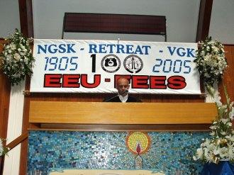 Centenary Banner - Rev A Rust preaching