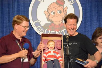 Mark Wade and Jeff Dunham cracking the audience up during the Raffle