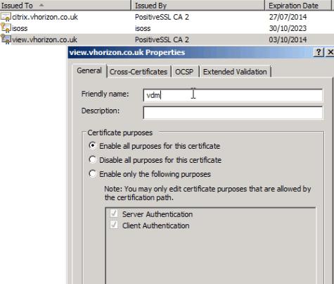 Configuring an external VMware View Security Server SSL certificate  