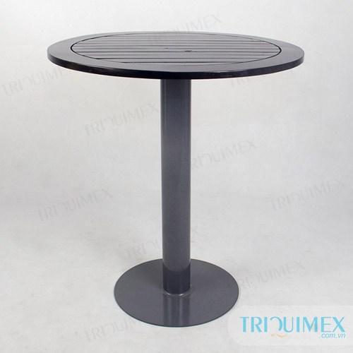 TR-067 Bàn cafe mặt gỗ tròn chân trụ