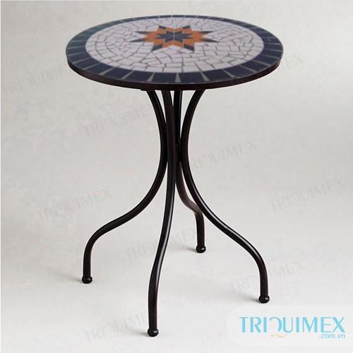 TR-095 Bàn tròn sắt mỹ nghệ mặt mosaic