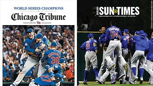 The front cover of the Chicago Tribune and Chicago Sun-Times