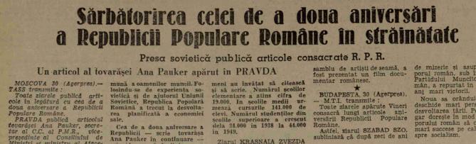 """Un articol al tovărașei Ana Pauker în Pravda. """"Scânteia"""", 31 decembrie 1949"""