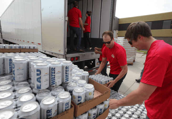 Labatt Brewing Company donated truckloads of canned drinking water