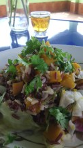 Red rice with pumpkin, sweet potato and koriander