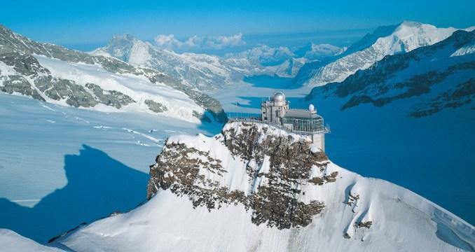 Vista do observatório astronômico de Sphinxf, uma das atrações da estação mais alta da Europa (foto: Jungfraujoch/Divulgação)