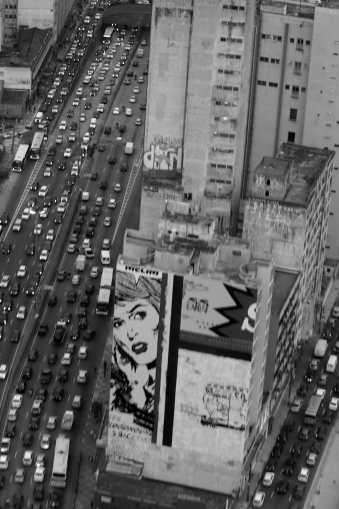 Vista aérea do trabalho de Daniel Melim, no Centro (foto: Eduardo Vessoni)
