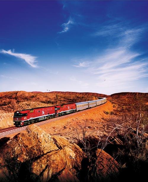 O The Ghan cruza a Austrália de norte a sul, entre Adelaide e a distante (e aborígene) Darwin (foto: Divulgação)