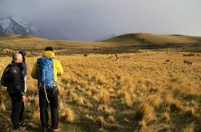 Hóspedes são guiados pela Hunter's Trail, uma das opções de trilhas do Parque Nacional Torres del Paine, no Chile (foto: Eduardo Vessoni)