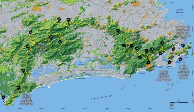 Mapa da Trilha Transcarioca (imagem: trilhatranscarioca.com.br)