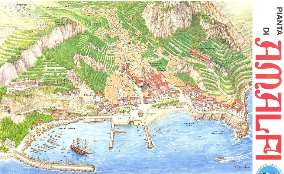 Mapa de Amalfi, Costa Amalfitana, Itália