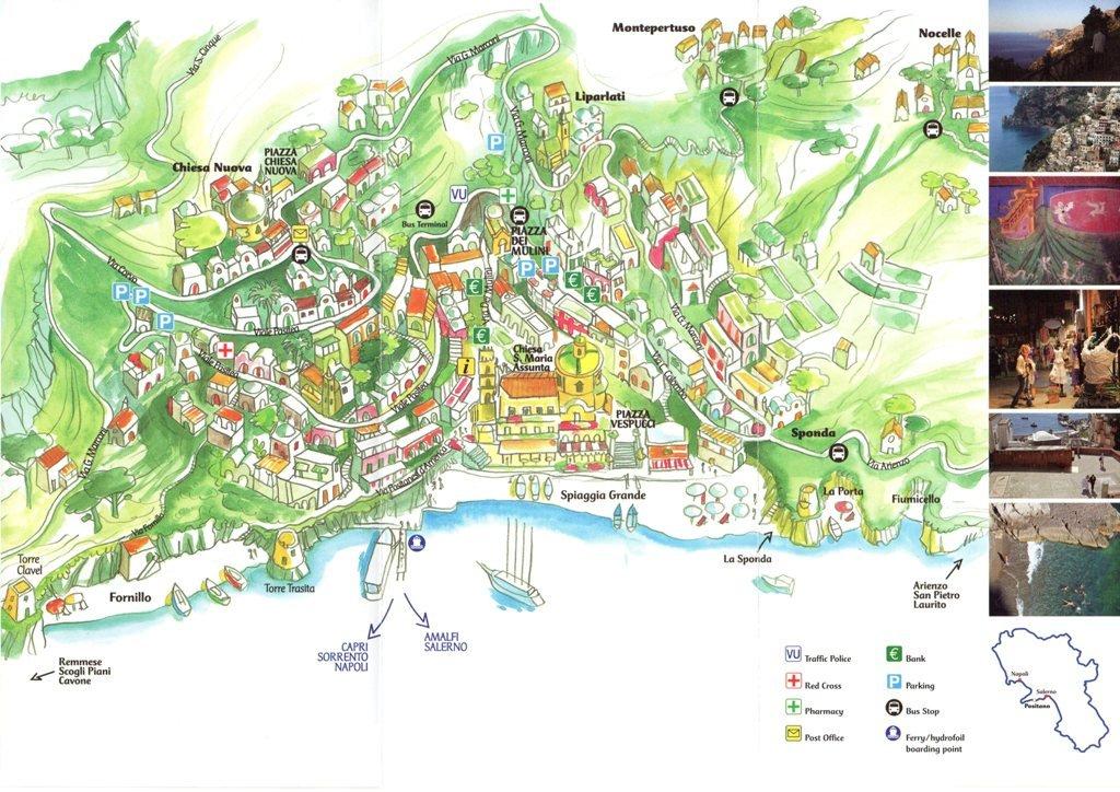 Mapa de Positano, sul da Itália