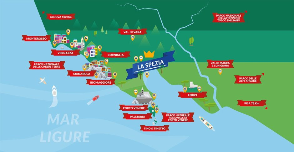 Mapa de Cinque Terre, Ligúria, Itália