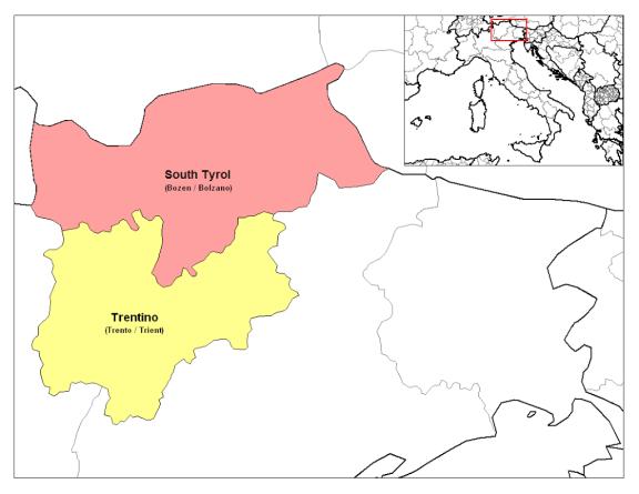 Mapa da Itália com todas as regiões. Trentino-Alto Ádige