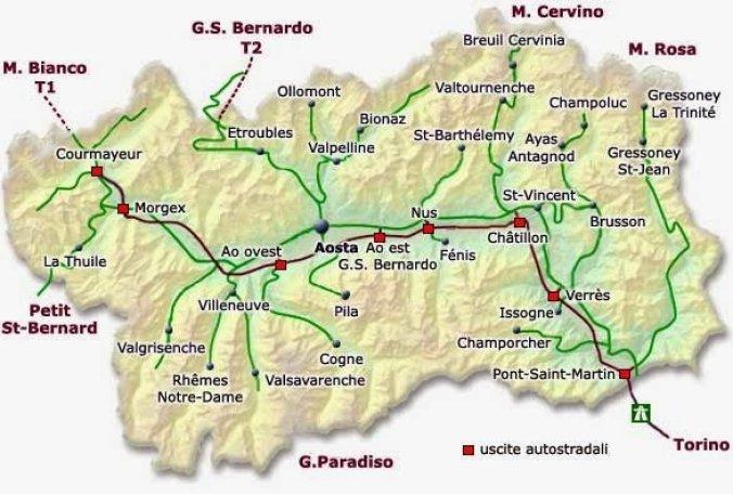 Mapa da Itália com todas as regiões. Valle d'Aosta
