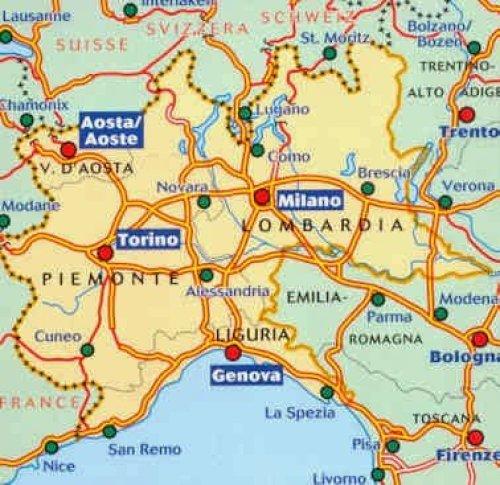 Mapa da Itália com todas as regiões. Noroeste italiano