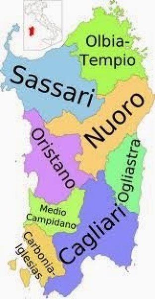 Mapa da Itália com todas as regiões. Sardenha