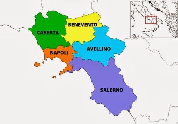 Mapa da Itália com todas as regiões. Campania