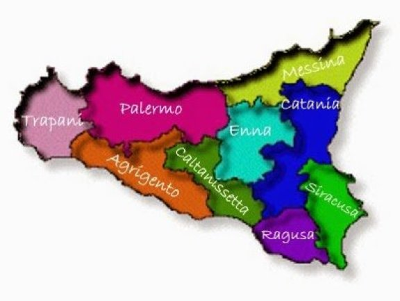 Mapa da Itália com todas as regiões. Sicília