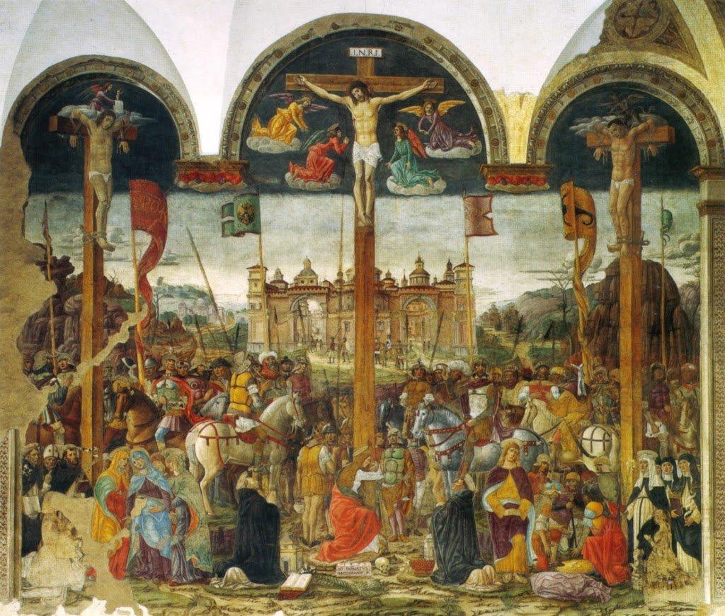Montorfano, em frente à Última Ceia de Leonardo da Vinci em Milão. Cenáculo de Leonardo da Vinci