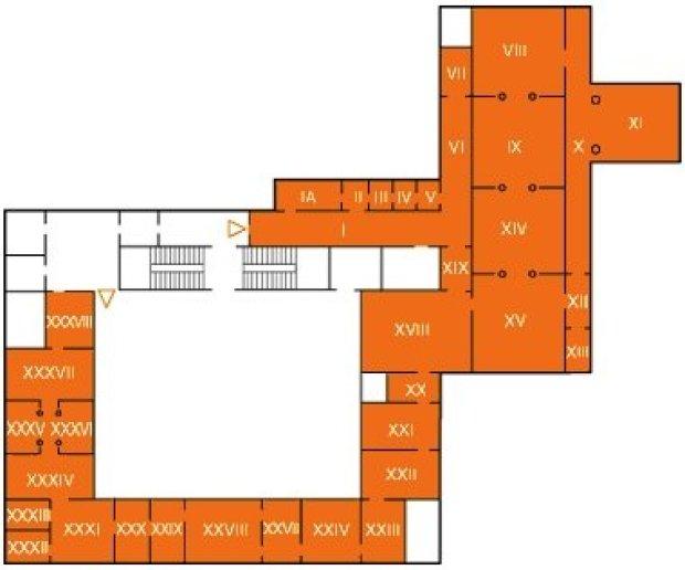 Mapa da Pinacoteca de Brera em Milão