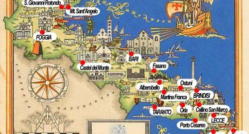 Mapa da Puglia (Apúlia), sul da Itália