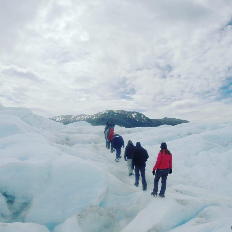 Caminhada sobre o gelo