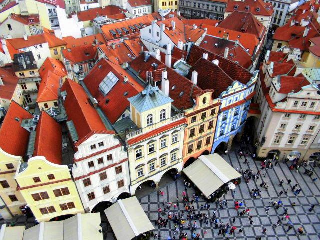 Vista dalla torre dell'orologio astronomico, Praga