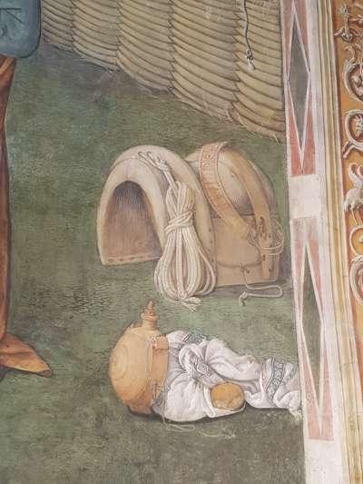 Adorazione dei pastori e arrivo dei Magi - dettaglio che allude al pane e vino dell'Eucarestia