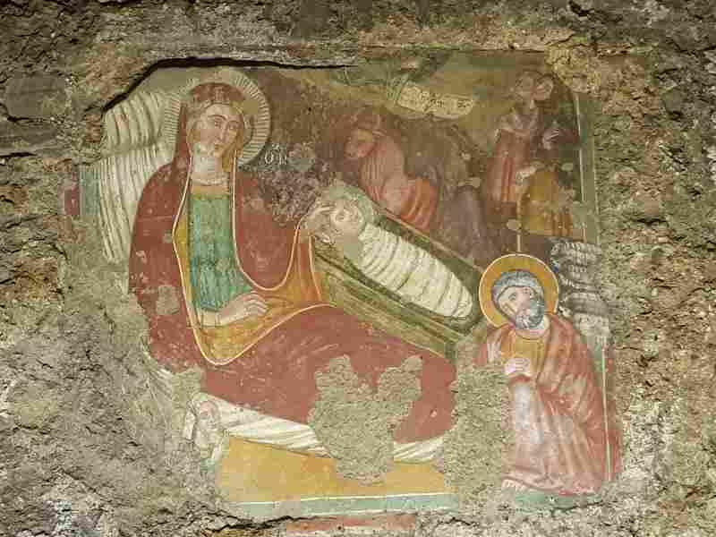 Affresco nell'abside del mitreo di Sutri