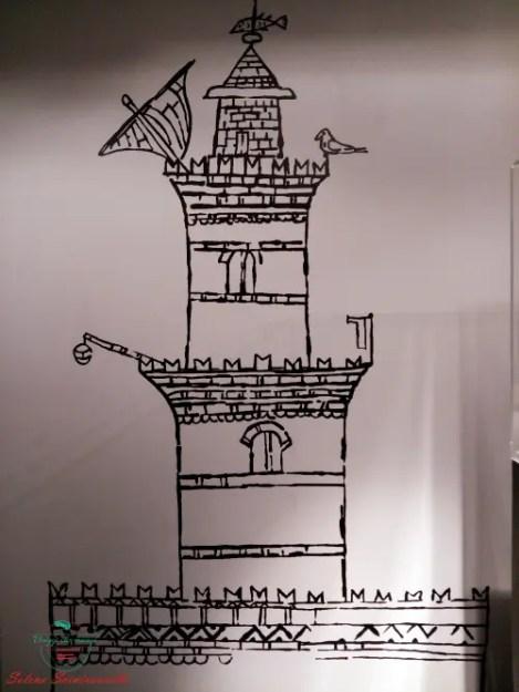 ingrandimento del primo disegno raffigurante la lanterna di genova esposto alla mostra a palazzo reale.