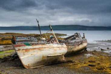 Three old boats in Salen, Isle of Mull, Scotland