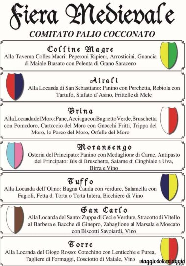 cocconato asti fiera medievale menu