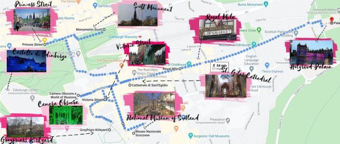 Mappa di Edimburgo con tappe e foto