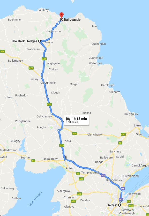 mappa Belfast-Ballycastle