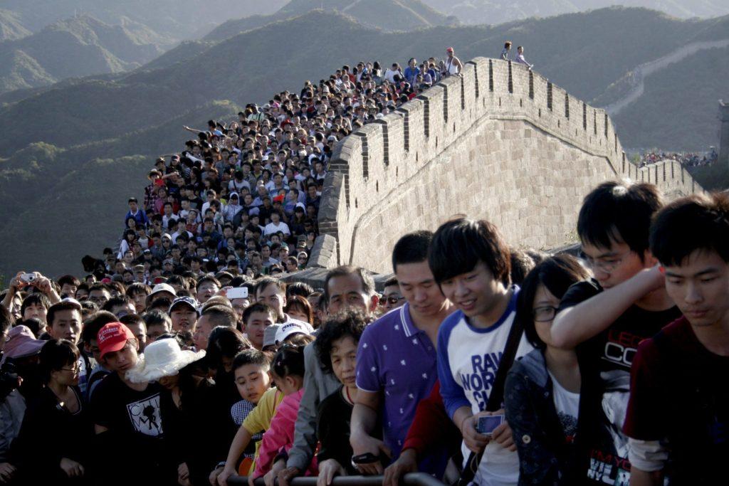 Turisti sulla grande muraglia