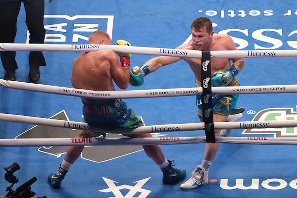 Saunders hits ropes