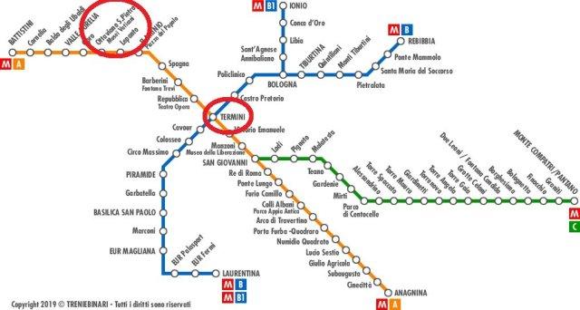 mappa metro per raggiungere i musei vaticani