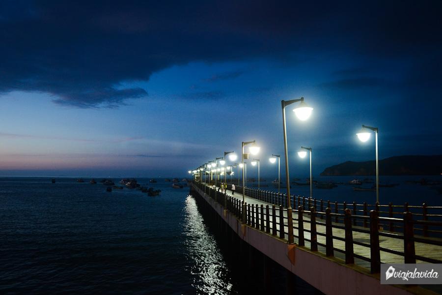 Puerto iluminado en la noche