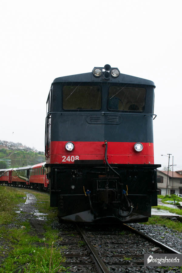 tren ecuador bajo la lluvia