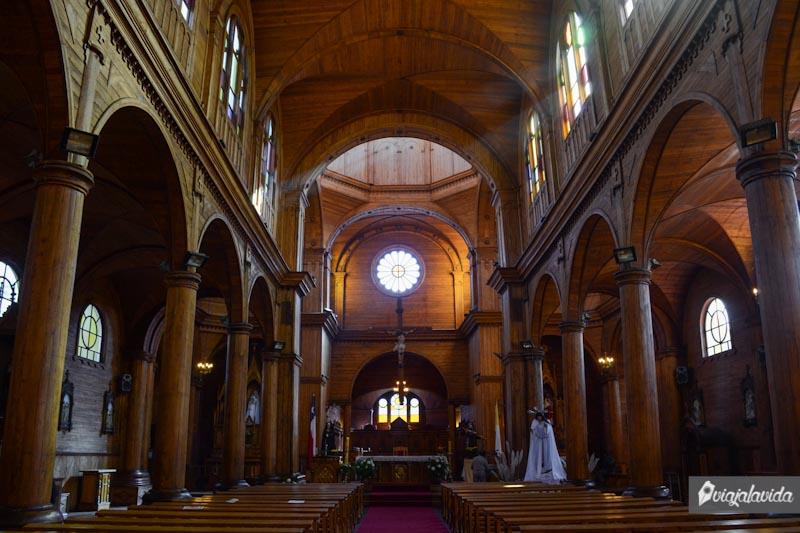 Interior de la iglesia de Castro, Chiloé.