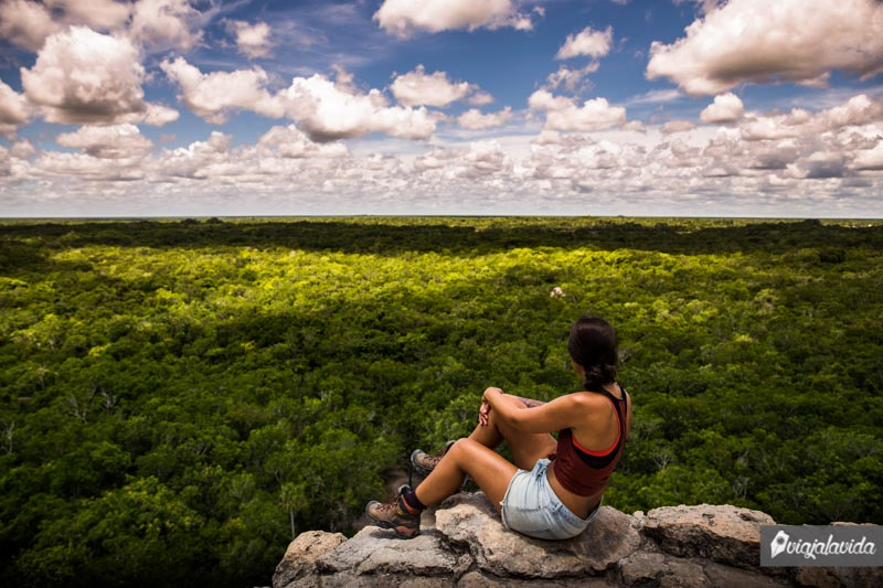 Desde la cima y el punto más alto en Cobá.