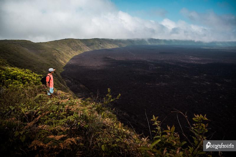 Cráter del Volcán Sierra Negra en Galápagos