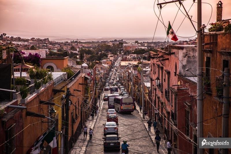 Calles extensas en San Miguel de Allende