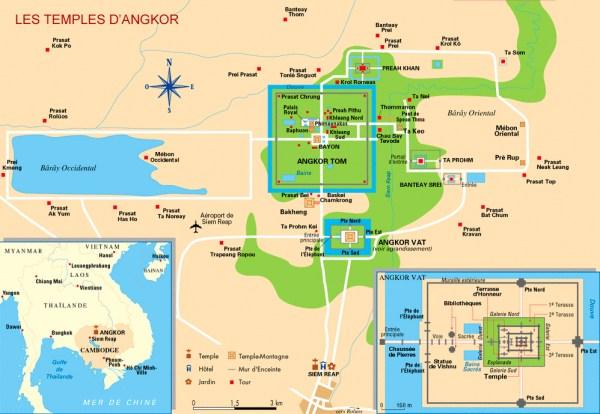 Este é o mapa do complexo de templos de Angkor.